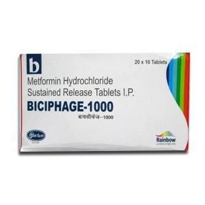 Biciphage 1000 mg  - Metformin - Skymap Pharmaceuticals Pvt. Ltd.